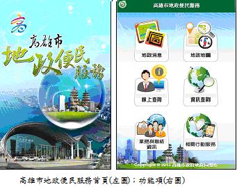 高雄市地政便民服務首頁(左圖);功能項(右圖)