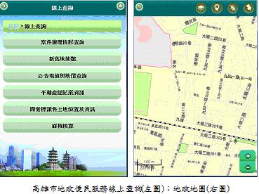 高雄市地政便民服務線上查詢(左圖);地政地圖(右圖)
